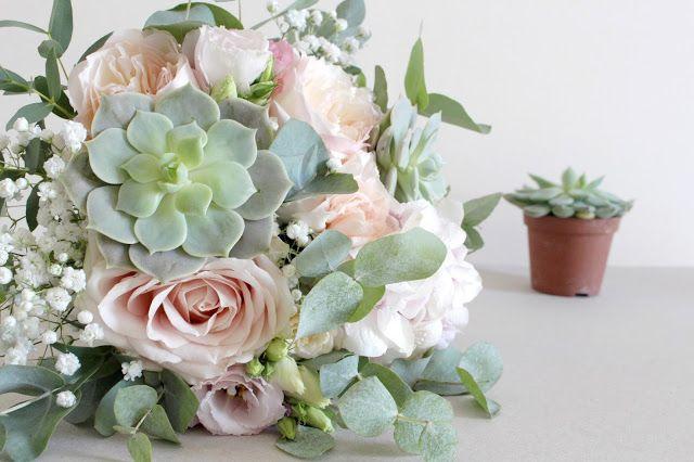 Bouquet de mariée roses austin, fleurs pastelles, fleuriste mariage Lyon, succulentes