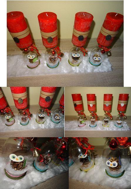 weihnachten deko weinglas schneekugel selbst gemacht stampin up glas eule mitbringsel geschenk. Black Bedroom Furniture Sets. Home Design Ideas