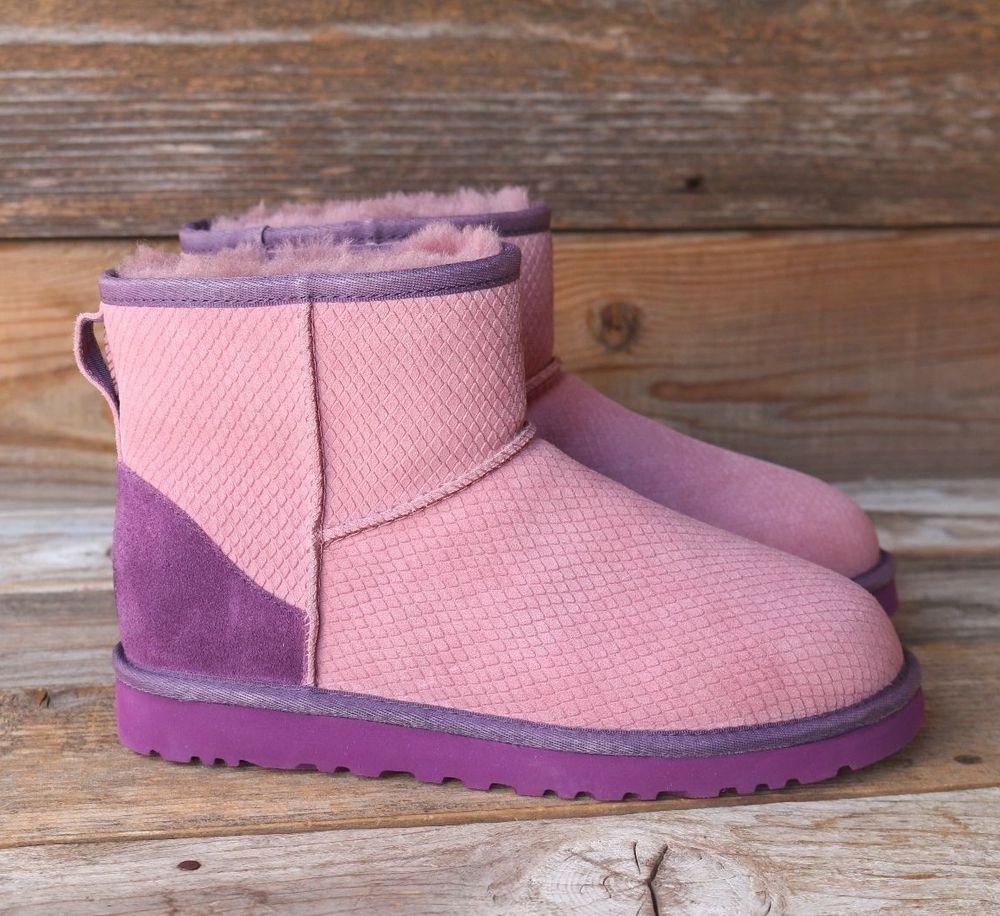03b509387a8 UGG Australia Classic Mini Exotic Scales Rare Purple Sheepskin Boots ...