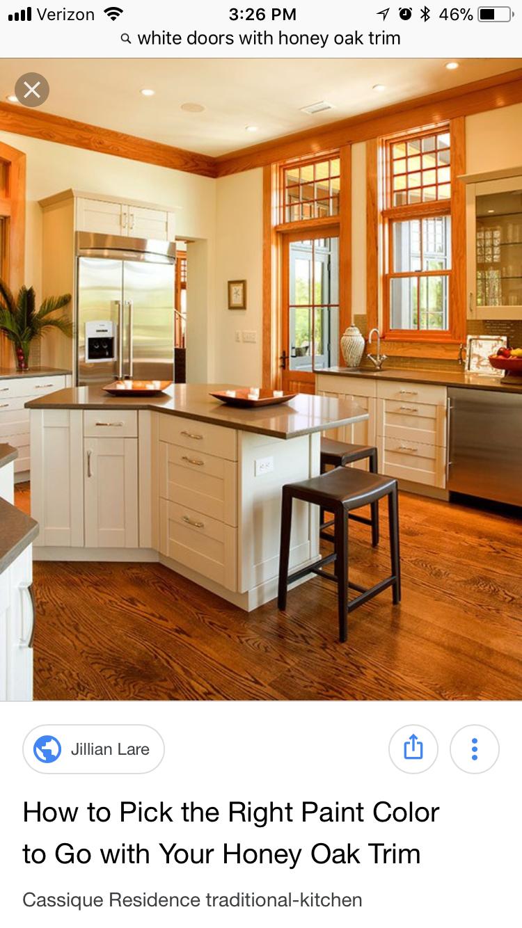 Pin By Justine Uryasz On Kitchen Ideas White Kitchen Oak Trim Vintage Kitchen Cabinets Kitchen Remodel