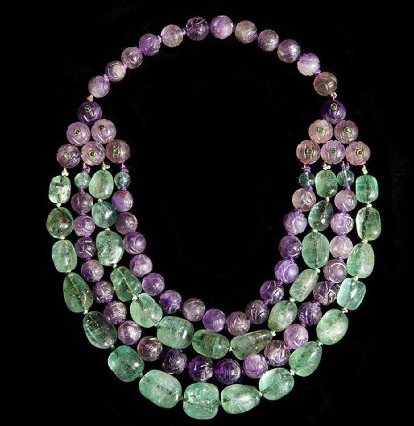 """""""Plastron"""" necklace mounted in 18k yellow gold with carved amethyst and emerald beads by Madame Belperron circa 1940. #SuzanneBelperron (Pat Saling posted on Instagram)"""