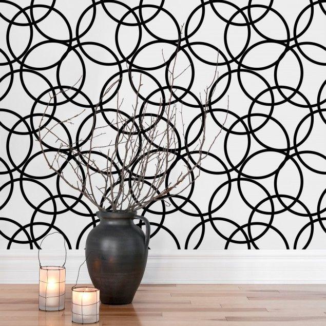 Vliestapete - Schwarze Kreise Muster - Mustertapete Quadrat - muster tapete wohnzimmer