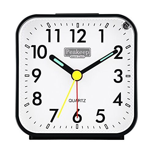 Peakeep Small Battery Operated Analog Travel Alarm Clock Silent No Ticking  Lighted On Demand And Snooze