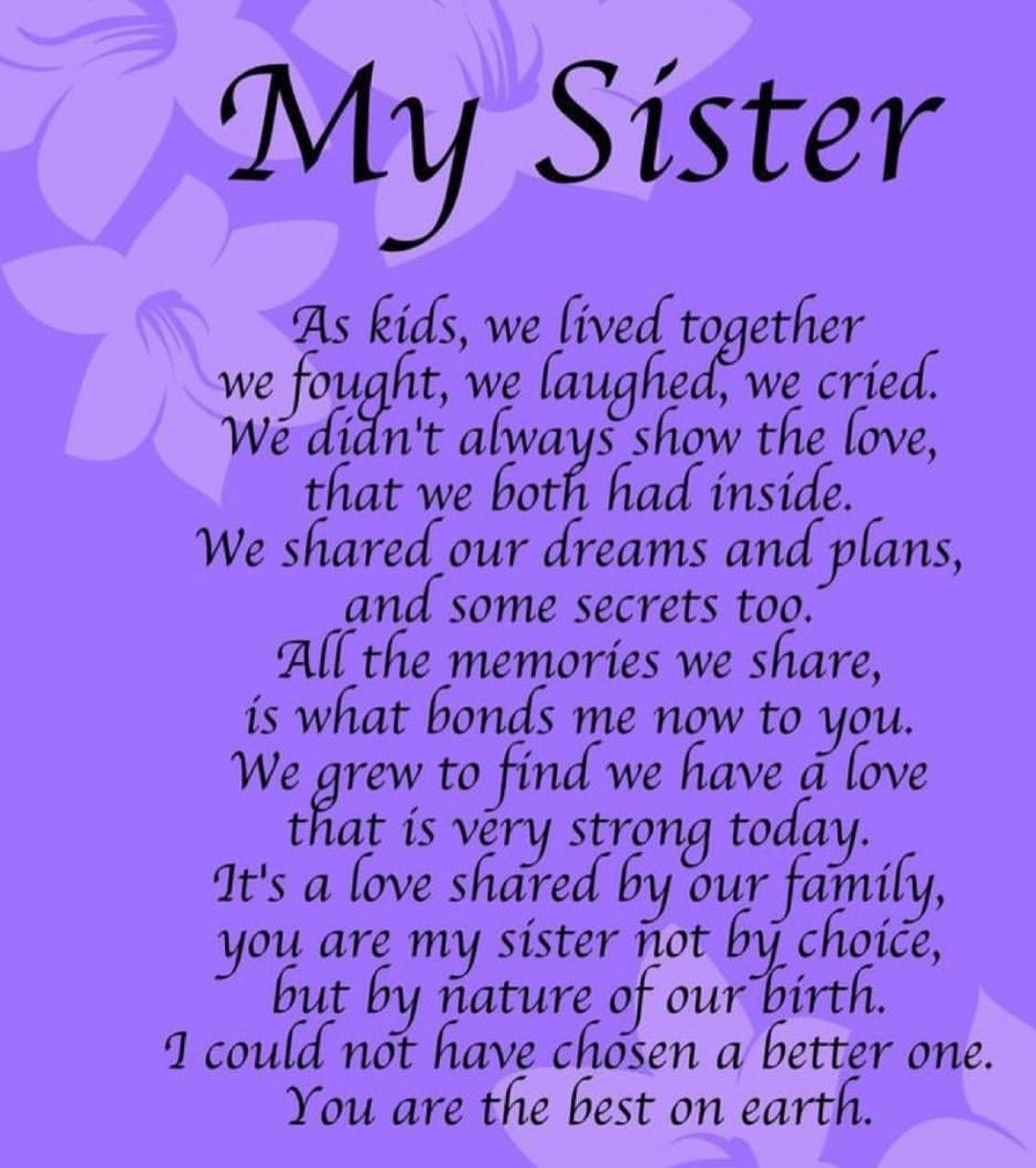 Pin by Grammie Newman on Family Sister poems, Sister