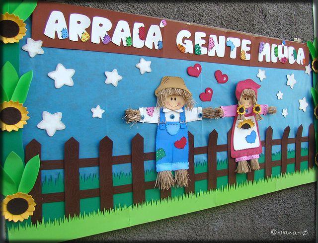 Mural Festa Junina Casal De Espantalhos By Eliana Chaves Via