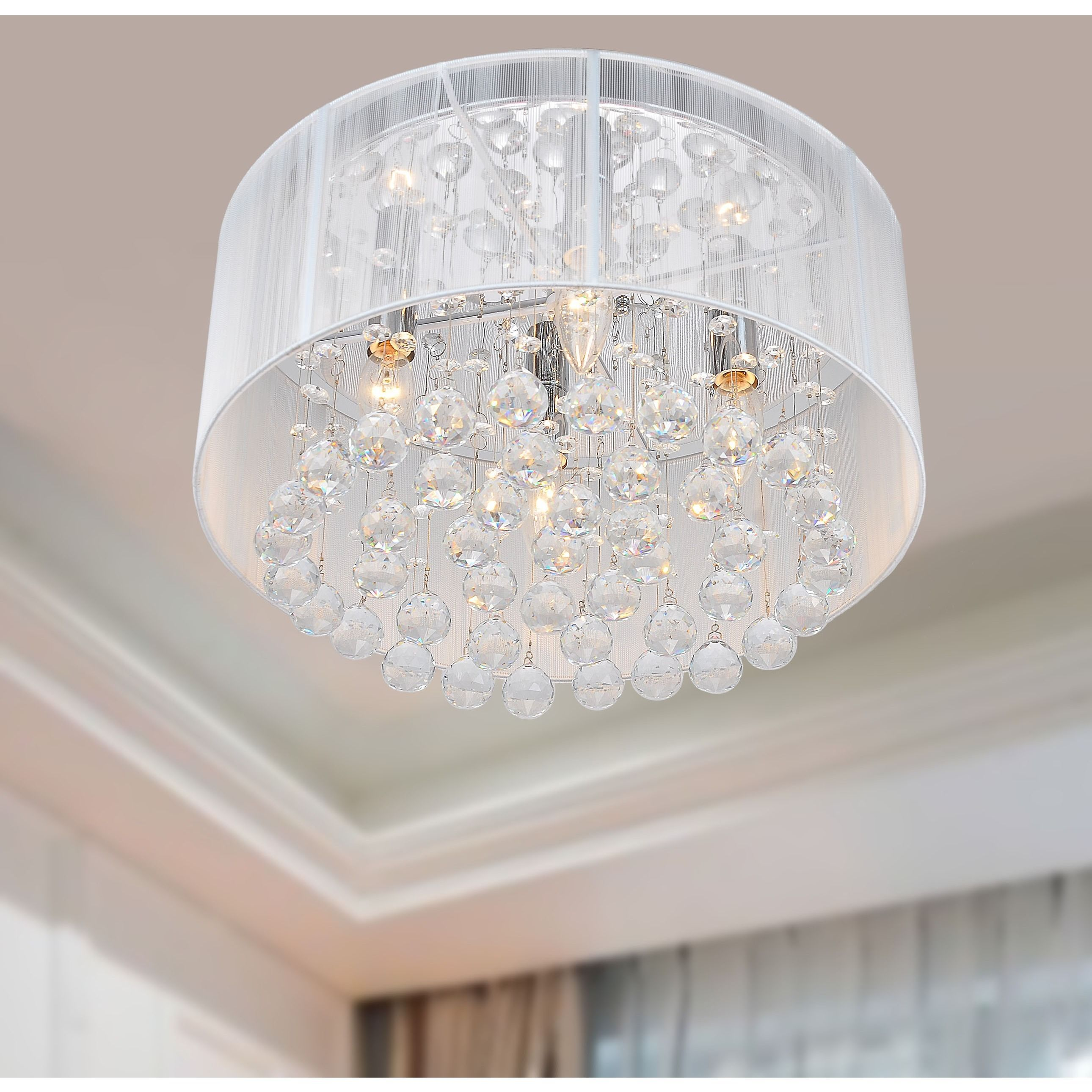Want Light Any Room In Elegant Style With This Gorgeous Four White Crystal Chandelier The One Tier Chrome And Features A Sy