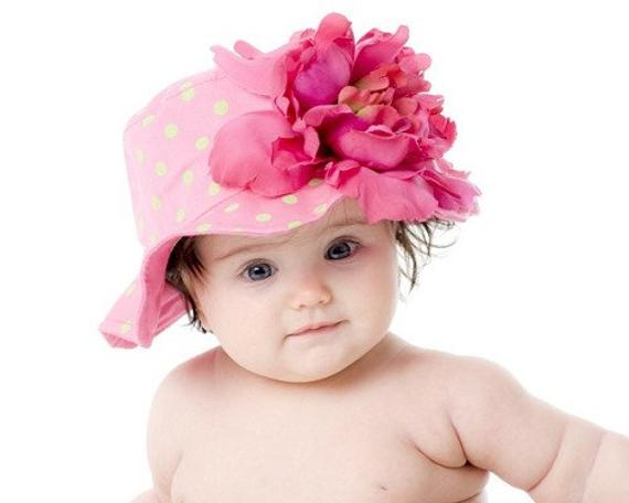 69aaed07b36 Pink Sun Hat For Girls All Ages- Baby Pink And Lime Green Polka Dot Sun Hat  With Large Peony Flower-