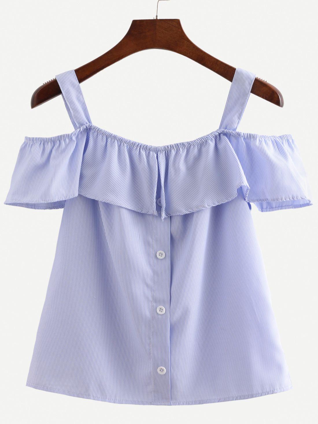 c891a8a0c Camiseta de rayas verticales de volante con tiras -azul-Spanish ...