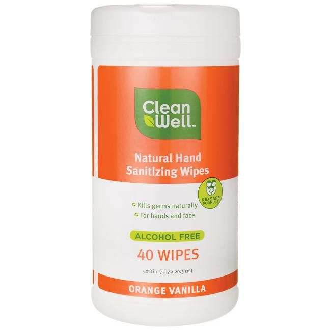 Cleanwell Natural Hand Sanitizing Wipes Orange Vanilla 40 Wipes