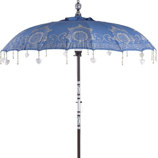 Pier 1 Imports Balinese Umbrella ($270) ❤ Liked On Polyvore Featuring Home,  Outdoors, Patio Umbrellas, Blue, Pier 1 Imports, Outdoor Patio Umbrellas,  ...