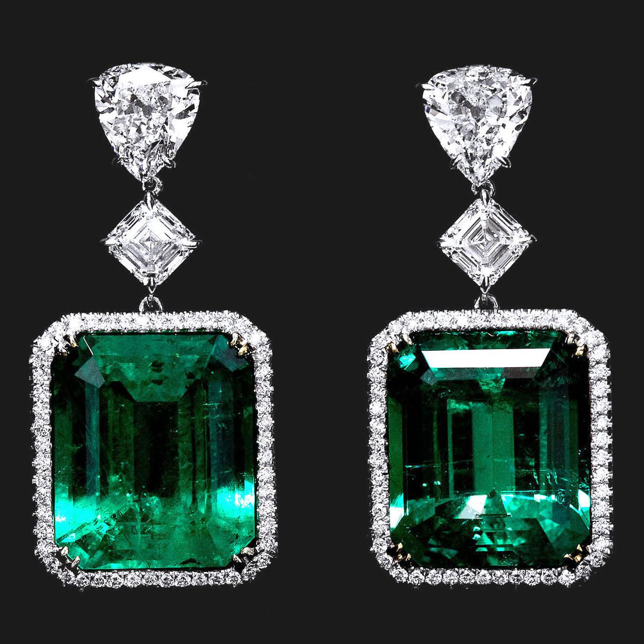 Important 45 Carat Colombian Emerald Earrings | From a unique collection of vintage drop earrings at https://www.1stdibs.com/jewelry/earrings/drop-earrings/