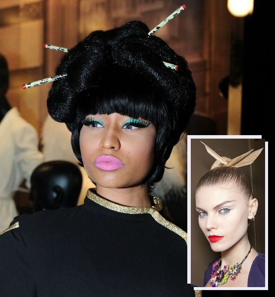 Nicki Minaj Whos Famous For Whack A Dos Like These Has Taken The Asian Inspired Updo Seen On Zac Posens Models Step Further
