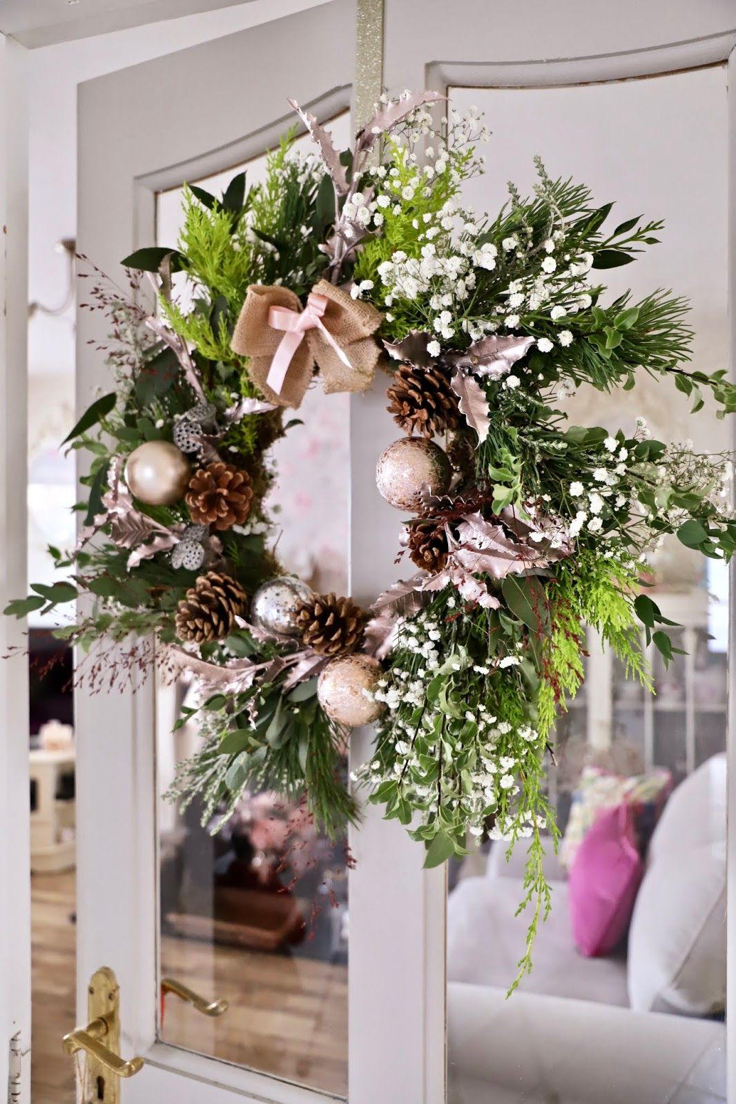 DIY Christmas wreath using fresh flowers and foliage
