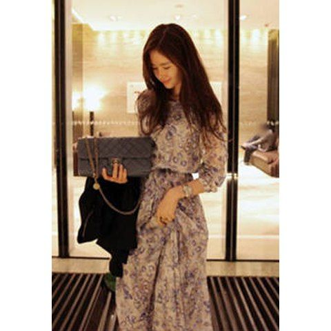 Bohemian Style Round Collar Tiny Floral Print Long Sleeve Chiffon Women's Spring Dress, BLUE, S in Bohemian Dresses | DressLily.com