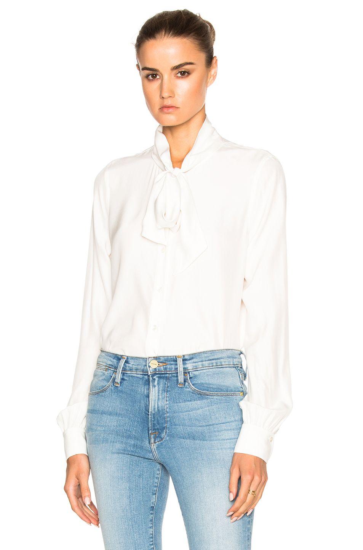 1f8c72238f6b7 Scarf Voluminous Silk Blouse - Off White
