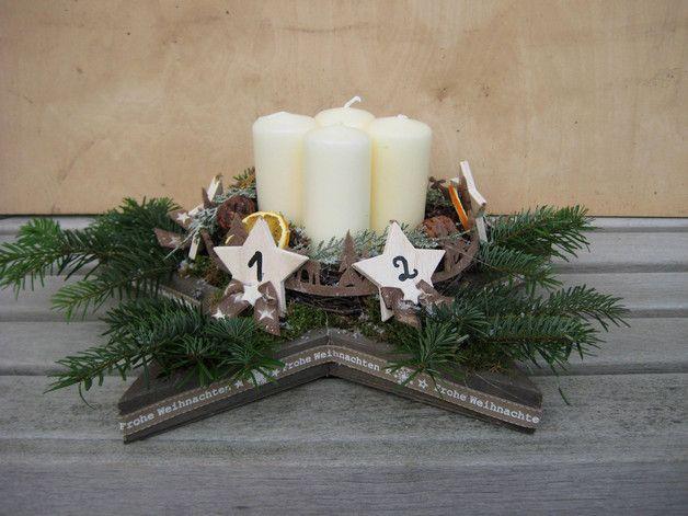 Adventskranz - ♥ Landhaus Sternen Adventskranz, Adventsgesteck ♥ - ein Designerstück von Sternenglanz-Clemens bei DaWanda
