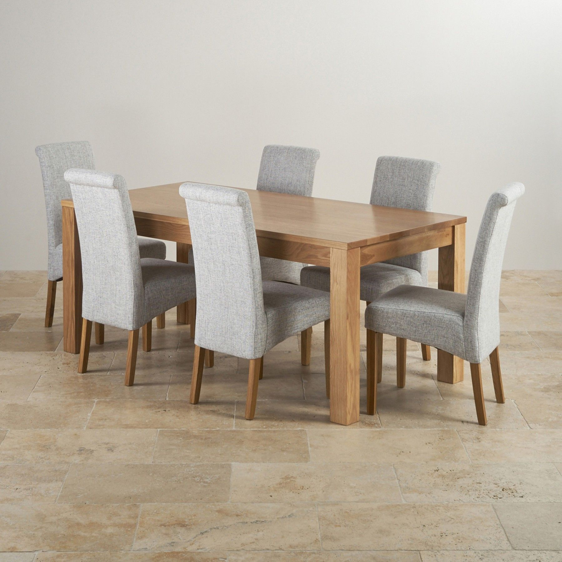 Oakdale Natural Solid Oak Dining Set 6ft Table With 6 Scroll Back Chairs In Plain Gray Fabric Oak Dining Sets Oak Furniture Land Luxury Dining Room