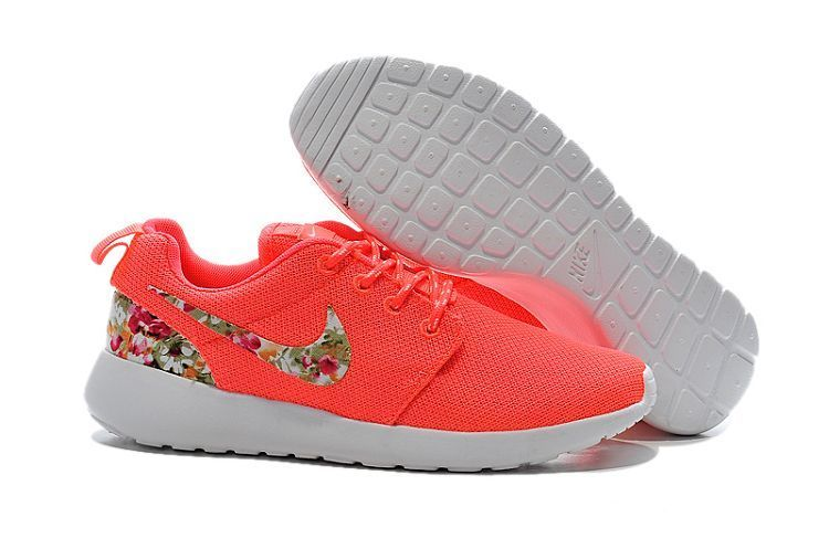the latest 3e4da a6969 Nike Roshe Women s nike flowers peach red Mesh Shoes