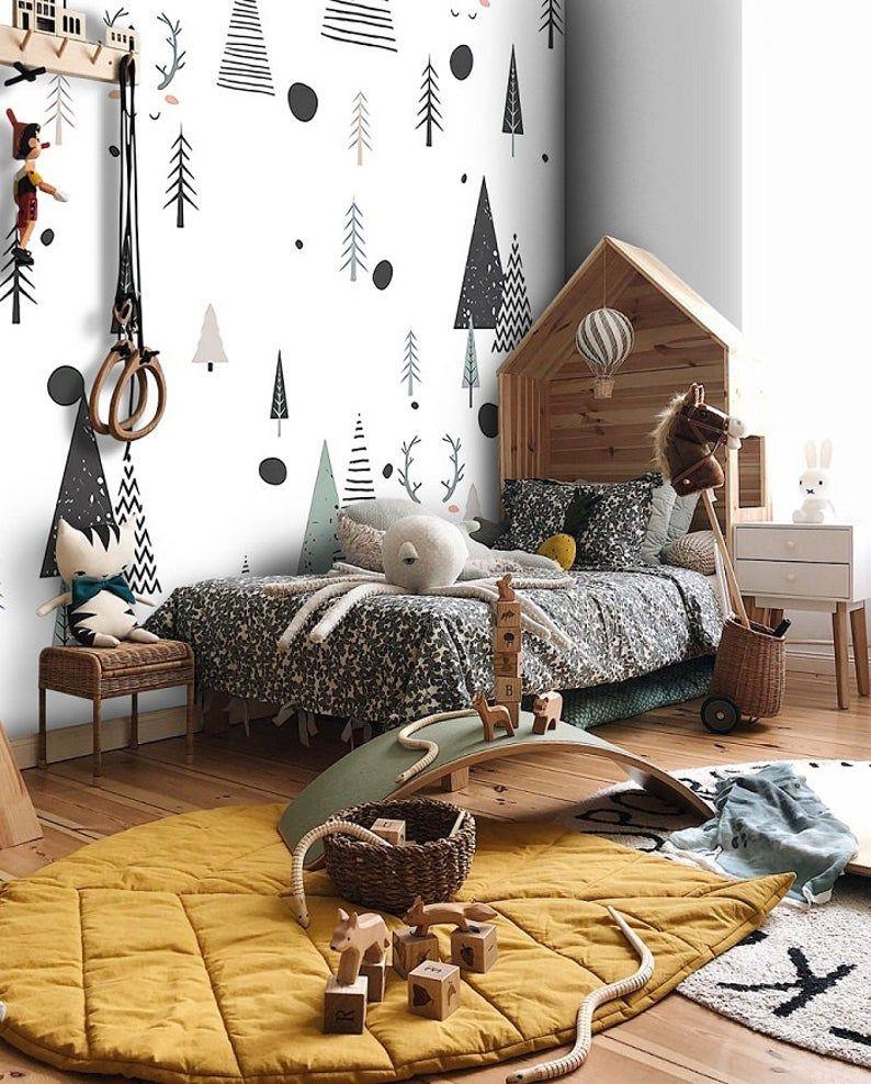 Cute Pine Trees And Deer Wallpaper Forest Wall Poster Nursery Teenage Room Creative Wall Mural