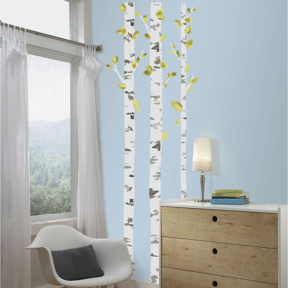 Birch Trees L And Stick Giant Wall Decal White
