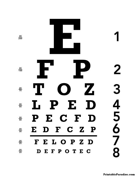 Printable Eye Chart Print Free 20 20 Eyechart