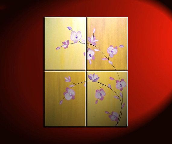 Large Acrylic Orchid Painting Zen Asian Yellow Golden Warm Colors ...