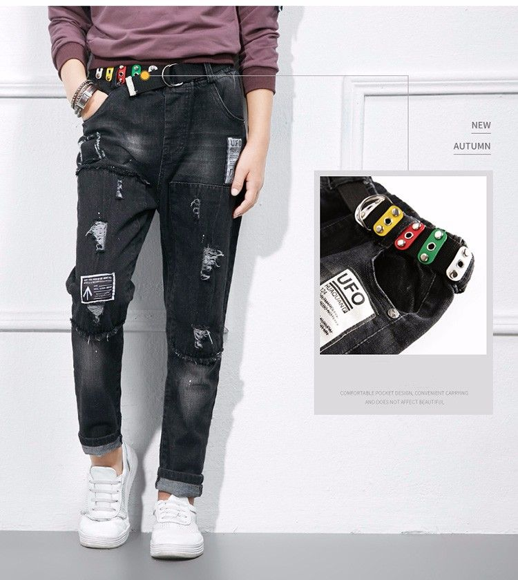 5c3ab714e9 F166729# 2017 Latest Fashion Top Design Euramerican Fashion High Waist  Patch Broken Boys Jeans Kids