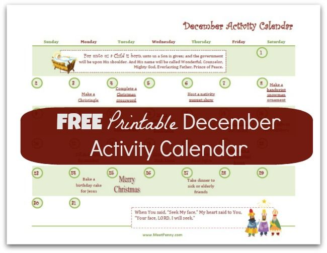 Free Printable December Activity Calendar with Links Free - activity calendar