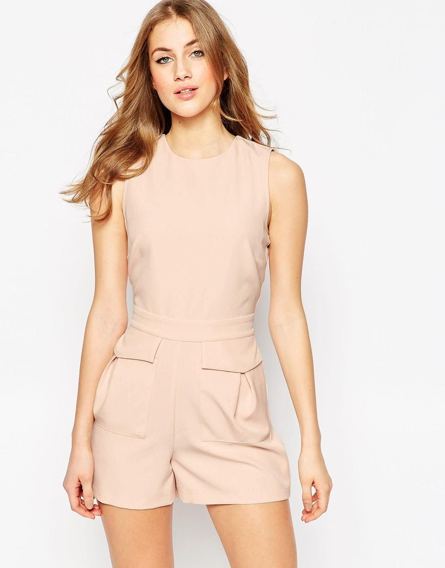 Shop ASOS Woven Occasion Playsuit with Patch Pockets at ASOS.