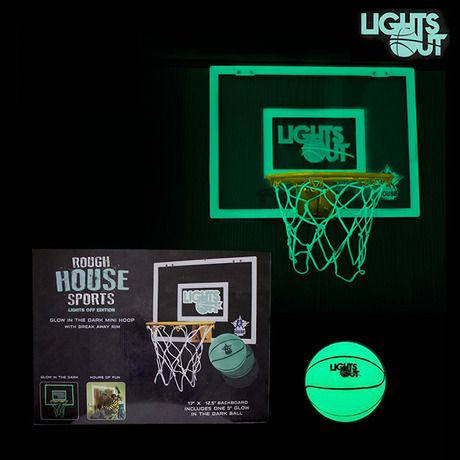Rough House Lights-Off Glow in the Dark Mini Basketball Hoop