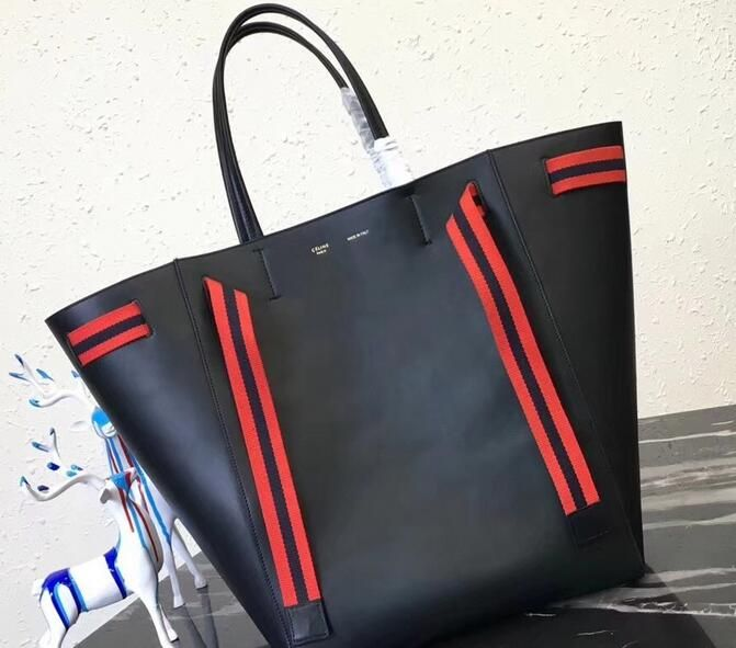 19f8c27649c8 2018 Celine Large Cabas Phantom Bag black In Calfskin With Wool Belt ...
