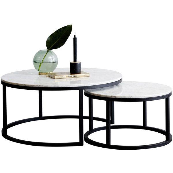 Modern Designer Round Nesting Marble Coffee Tables Black Steel Metal 1 855 Li Marble Coffee Table