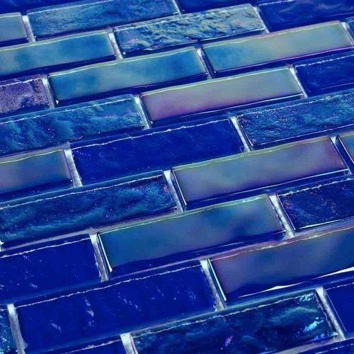 Iridescent Glass Tile Summer Cobalt Blue 1 x 3 | Mineral Tiles #Bathroomtile