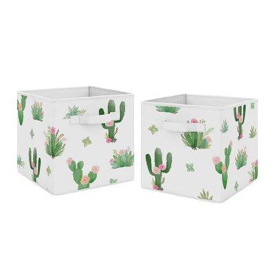 Sweet Jojo Designs Cactus Floral Fabric Bin | Wayfair
