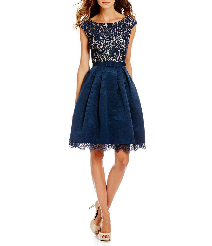 Eliza J Illusion Lace Bodice Boat Neck Fit-and-Flare Dress | Dresses ...