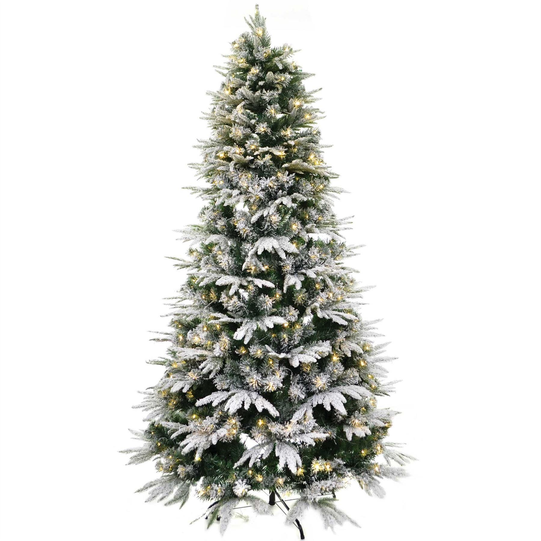 Pre-lit snow covered Christmas tree. Size: 7ft (Also ...