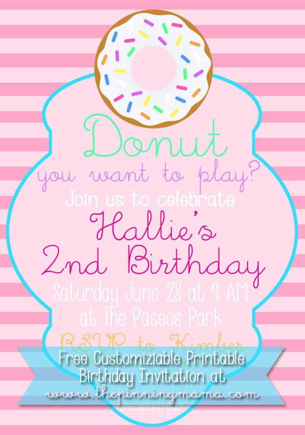 Free Customizable Donut Birthday Party Invitation Donut Birthday