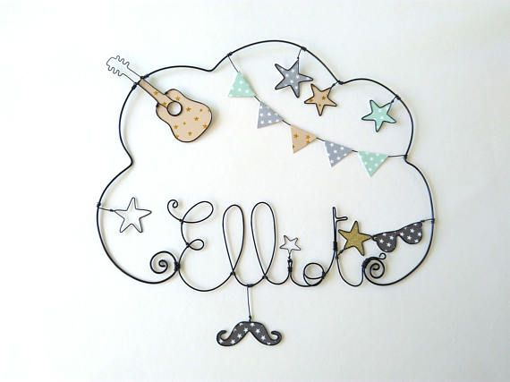 guitar and rock and roll personalized wire name wall decor for child 39 s room. Black Bedroom Furniture Sets. Home Design Ideas