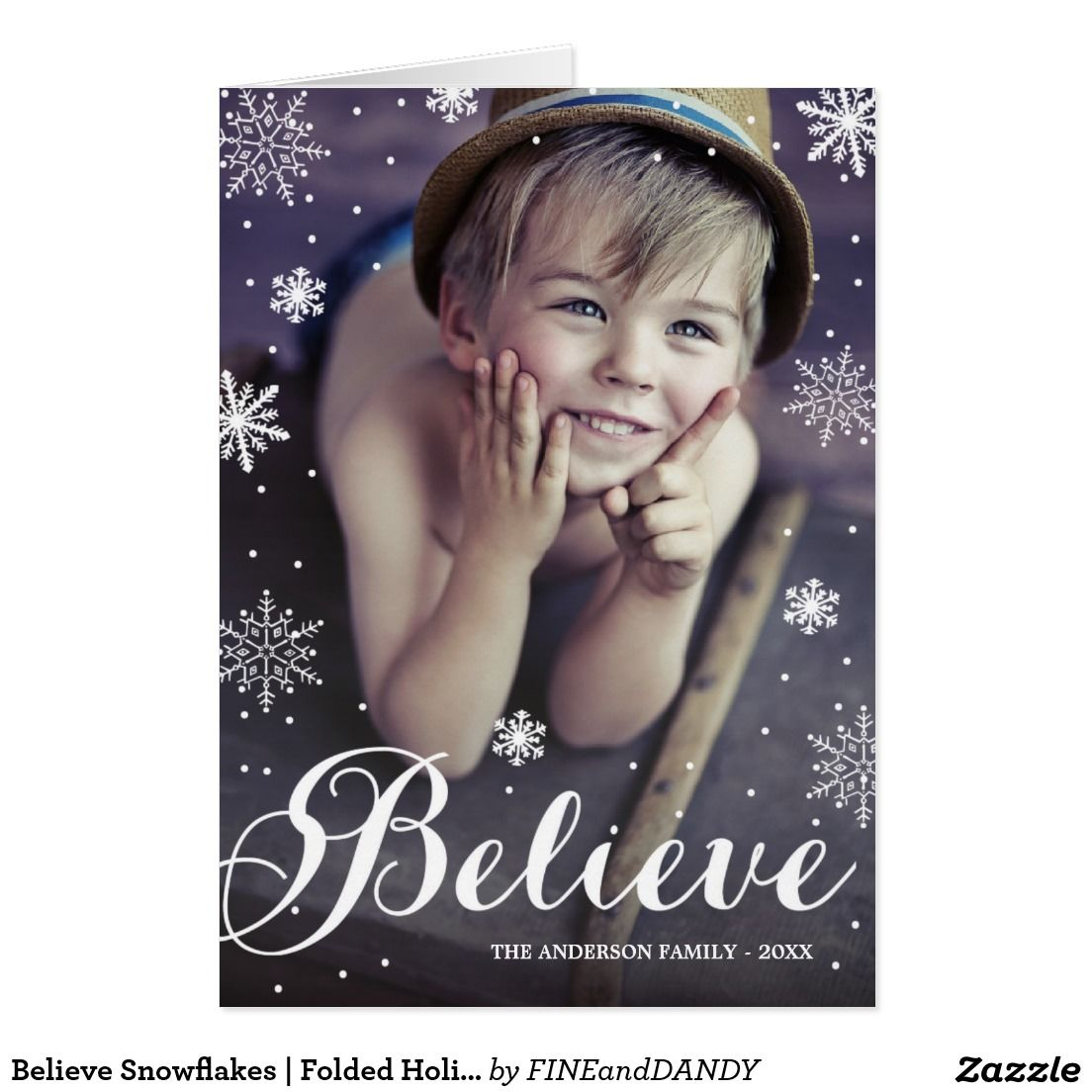 Believe Snowflakes Folded Holiday Greeting Card Season Greeting