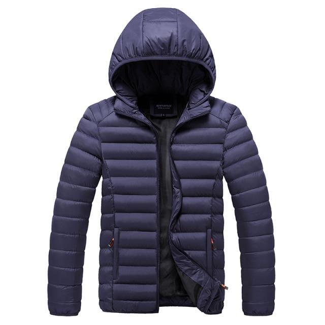 Men 2021 Winter New Casual Warm Thick Waterproof Jacket Parkas Men Outwear Fashion Pockets  Windproof Hat Parka Jacket Hot - Blue / XXXL