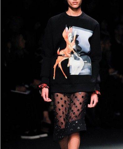 Black Bambi George Pattern Sweatshirt