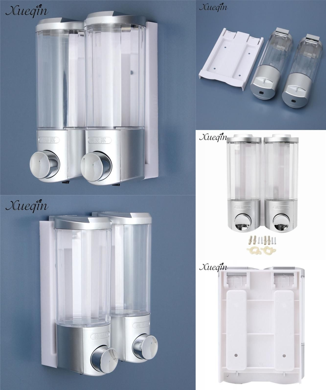 Visit to Buy] 2x400ML Bathroom Double Liquid Soap Dispensers Wall
