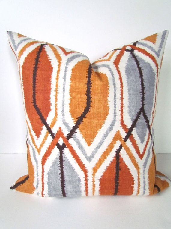 Decorative throw pillows 24x24 copper orange gray throw for Brown and gray throw pillows