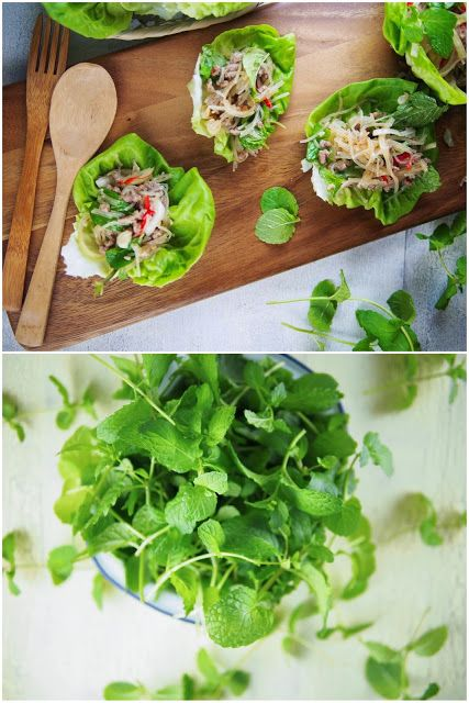 Thai beef vermicelli lettuce wraps - http://www.pincookie.com/thai-beef-vermicelli-lettuce-wraps/