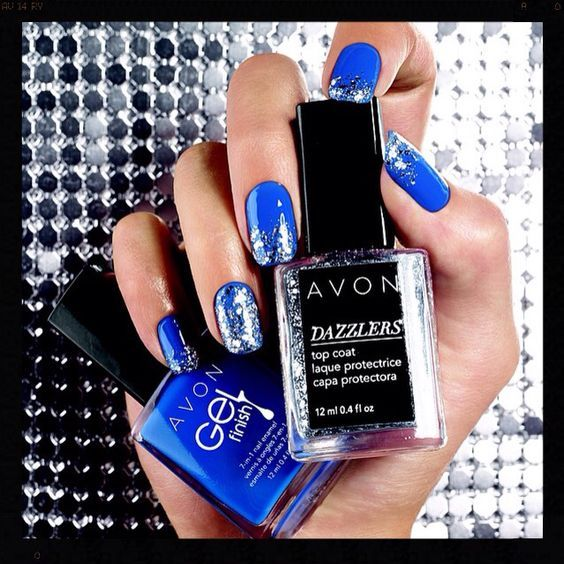 Get the look only at Avon!! Use Avon Gel nail polish and our dazzler top coat and get a great look for any occasion or just having fun!! Shop online at www.youravon.com/my1724 or by clicking on the pin!!