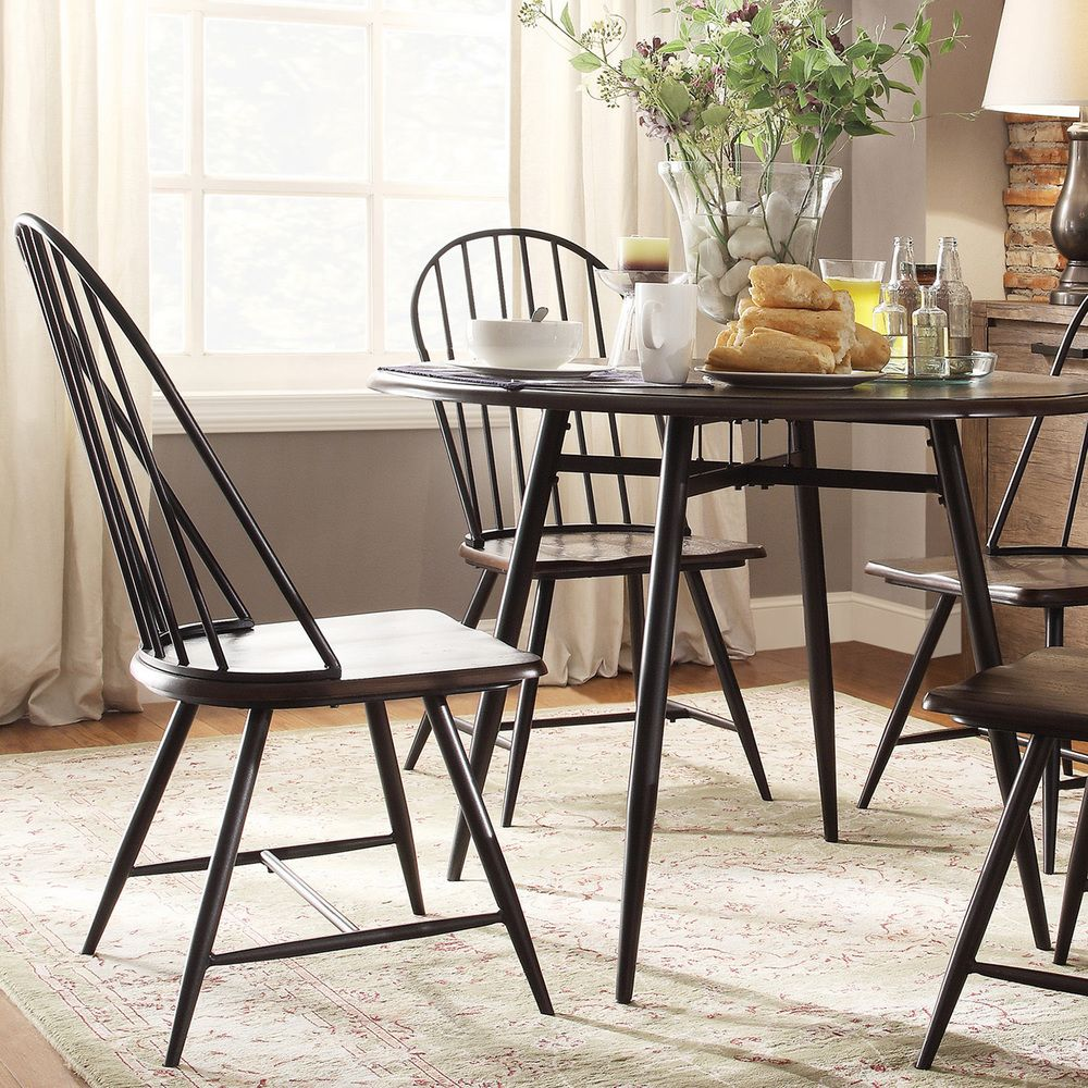 Belita Mid-century Two-tone Modern Spindle Wood Dining Chairs (Set ...