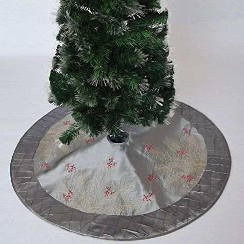 Gireshome 42 silvery faux silk Deluxe Berry Embroidered with Handcraft Pintuck Border Christmas Tree Skirt Christmas Decoration -- Visit the image link more details. (This is an affiliate link) #ChristmasTreeSkirts