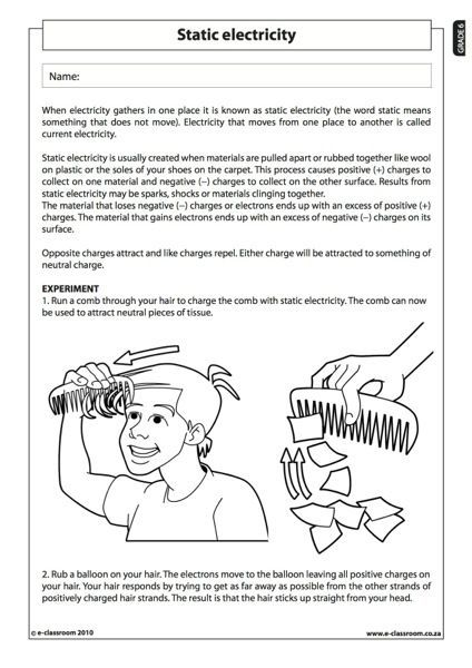 Worksheets For Grade 6 Students : Static electricity natural science worksheet grade