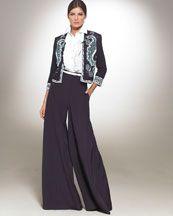 Pants Neiman Marcus Palazzo Ruffled Shirt