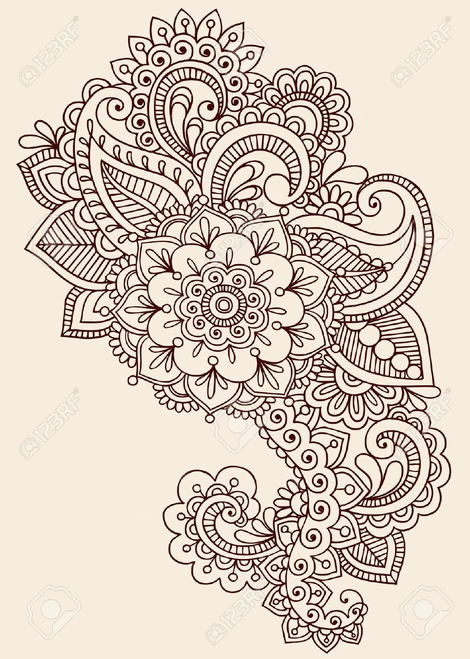 henna paisley flowers mehndi tattoo doodles design abstract royalty free cliparts vectors. Black Bedroom Furniture Sets. Home Design Ideas